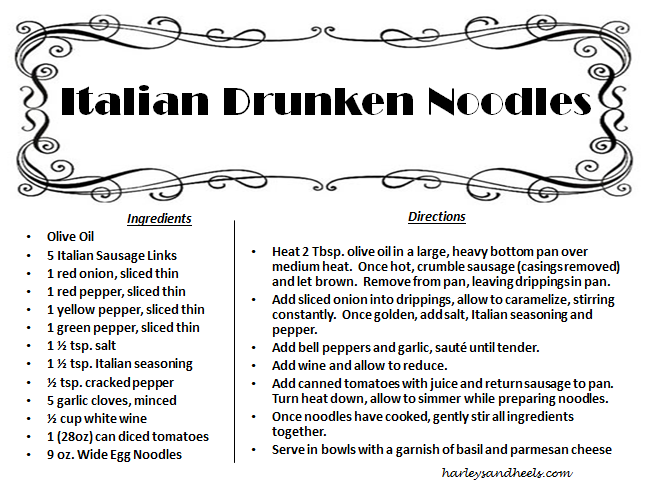 Drunken Italian Noodle Recipe