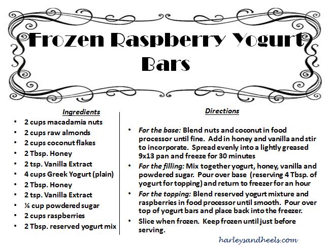 Frozen Raspberry Yogurt Bars