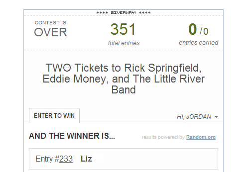 concert ticket winner