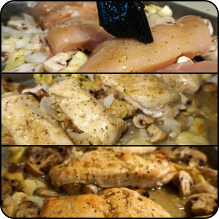 Mushroom Artichoke Chicken with Spicy Honey Mustard and Balsamic Glaze
